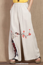 Casual pants Off white Average size Spring 2016 trousers Wide leg pants routine 51% (inclusive) - 70% (inclusive) hemp