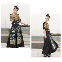 skirt Autumn of 2018 Average size Picture color style, sold without return, hand embroidered new embroidery longuette commute Natural waist Splicing style Animal design Type A 31% (inclusive) - 50% (inclusive) Silk and satin Cloud decoration Totem silk Stitching, embroidery ethnic style