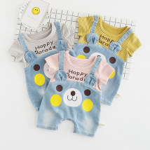 Jumpsuit / climbing suit / Khaki Other / other Class A currency Pink yellow grey 66cm 73cm 80cm 90cm cotton summer Short sleeve Short climb leisure time No model nothing Cotton 95% other 5% Socket Three hundred and fifty-four Three hundred and fifty-four