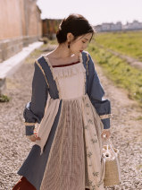 Dress Spring 2021 Picture color S,M,L Mid length dress singleton  Long sleeves Sweet square neck High waist Broken flowers Socket Princess Dress bishop sleeve Breast wrapping 18-24 years old Type A solar system