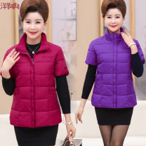 Vest Autumn of 2018 Red, black, deep purple, army green, sky blue, rose red, purplish red, safflower XL,2XL,3XL,4XL,5XL routine stand collar Versatile Solid color zipper Oblique shoulder 40-49 years old 71% (inclusive) - 80% (inclusive) nylon pocket Silk like cotton