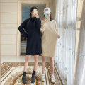 Dress Autumn 2020 S,M,L,XL Mid length dress singleton  Long sleeves commute Half high collar High waist Solid color Socket other other Others 18-24 years old Type H Korean version 30% and below knitting acrylic fibres