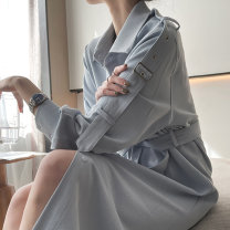 Dress Spring 2021 Light grey blue, classic black S,M,L Mid length dress singleton  Long sleeves commute Solid color Single breasted shirt sleeve 25-29 years old Type H Simplicity 210115LYQ02 51% (inclusive) - 70% (inclusive) polyester fiber