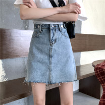 skirt Spring 2021 S (90-100 Jin), m (100-110 Jin), l (110-120 Jin), XL (120-135 Jin), 2XL (135-150 Jin), 3XL (150-165 Jin), 4XL (165-175 Jin), 5XL [175-200 Jin] Light blue, black Short skirt commute High waist A-line skirt Type A 18-24 years old Denim Korean version