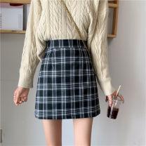 skirt Spring 2021 S [80-95 kg], m [95-105], l [105-115 Jin], XL [115-125 Jin], 2XL [125-140 Jin], 3XL [140-160 Jin], 4XL [160-180 Jin], 5XL [180-200 Jin] Short skirt commute High waist A-line skirt Type A 18-24 years old brocade cotton Korean version