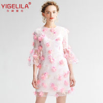Dress Summer 2021 Barbie powder S,L,M,XS Short skirt Two piece set elbow sleeve Sweet Crew neck middle-waisted Decor zipper Princess Dress pagoda sleeve Others 25-29 years old Type A Yigelila 91% (inclusive) - 95% (inclusive) organza  polyester fiber Ruili