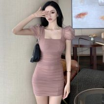 Dress Summer 2021 Pink S,M,L Short skirt singleton  Short sleeve commute square neck High waist Solid color zipper One pace skirt puff sleeve 18-24 years old Type H Korean version 81% (inclusive) - 90% (inclusive)