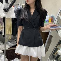 Fashion suit Summer 2021 S,M,L Black suit, white skirt, white suit, black skirt, black suit, black skirt, white suit, white skirt 9306 suit-9361 skirt 71% (inclusive) - 80% (inclusive) polyester fiber