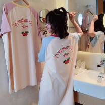 Nightdress Other / other Blue, pink Average size Sweet Short sleeve Leisure home Middle-skirt summer Plants and flowers youth Crew neck cotton printing More than 95% Knitted cotton fabric