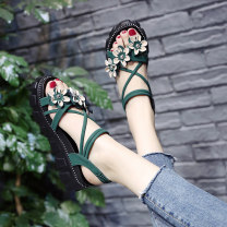 Sandals 35 36 37 38 39 40 Black green Beige Suede Adzuki Bean Barefoot Muffin bottom Middle heel (3-5cm) Summer of 2019 Flat buckle Korean version Solid color Adhesive shoes Youth (18-40 years old) rubber daily Rear trip strap Low Gang Lateral space A19DDCBL229-1 Flat buckle Shaving