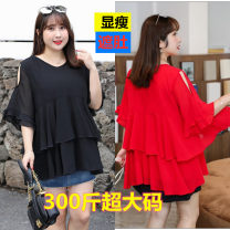 Lace / Chiffon Summer 2020 Black [a version, big hem], red [chiffon. Good drooping feeling] For 5XL, 4XL, 6xl, 3XL and 8xl, 240-260kg is recommended, for 7XL, 220-240kg and for 9xl, 260-300kg Short sleeve commute Socket singleton  Cape type V-neck Solid color Lotus leaf sleeve 25-29 years old