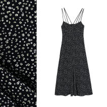 Dress Summer 2021 black XS,S,M,L longuette singleton  Sleeveless street One word collar High waist Decor Socket A-line skirt camisole 18-24 years old Type A TRAF Backless, printed More than 95% polyester fiber Europe and America