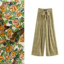 Casual pants Mustard yellow XS,S,M,L Spring 2020 trousers Wide leg pants High waist commute Thin money TRAF Korean version belt