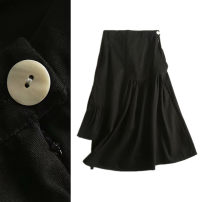 skirt Summer 2020 S,M,L black Mid length dress commute High waist Irregular Solid color Type A 91% (inclusive) - 95% (inclusive) brocade TRAF cotton Korean version