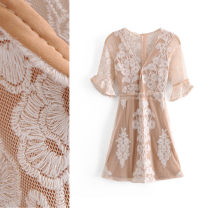 Dress Spring 2021 Apricot S,M,L Short skirt singleton  elbow sleeve street V-neck High waist Solid color Socket A-line skirt routine 25-29 years old Type A TRAF Embroidery, lace More than 95% Lace polyester fiber Europe and America