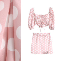 Fashion suit Spring 2021 XS,S,M,L Light pink top, light pink skirt, light pink suit 18-25 years old TRAF 3273/3274 96% and above polyester fiber