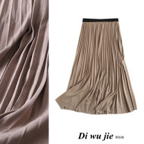 skirt Autumn 2020 Average size Khaki, black, dark grey longuette Versatile High waist Pleated skirt Solid color Type A TRAF