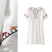 Dress Summer 2021 white XS,S,M,L Short skirt singleton  Short sleeve commute High waist Broken flowers Socket A-line skirt pagoda sleeve 18-24 years old Type A TRAF ethnic style Embroidery More than 95% cotton