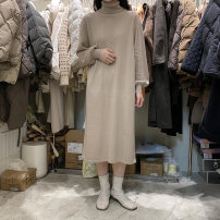 Dress Winter 2020 Rice camel, brown coffee, carbon grey, olive green Average size longuette singleton  Long sleeves commute Loose waist Solid color Socket routine Type H Korean version knitting polyester fiber