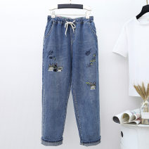 Jeans Spring 2021 blue Ninth pants High waist Haren pants routine Washing, embroidery Cotton elastic denim 96% and above