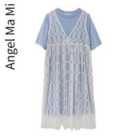suit Other / other Sky blue two piece set M,L,XL,XXL Korean version Short sleeve + skirt summer routine Solid color