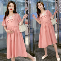 Dress Other / other Pink, blue, collection and purchase ⭐ priority in delivery M,L,XL,XXL Korean version Long sleeves Medium length summer Lapel Solid color Cotton and hemp