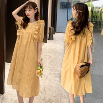 Dress Other / other M,L,XL,XXL Korean version Short sleeve Medium length summer square neck Solid color Space cotton