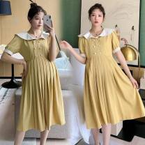 Dress Other / other Yellow, collection and purchase ⭐ priority in delivery M,L,XL,XXL Korean version Short sleeve Medium length summer Lapel Solid color polyester
