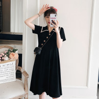 Dress Other / other Black, collection and purchase ⭐ Priority shipping, black (quality version) M,L,XL,XXL Korean version Short sleeve Medium length summer Lapel Solid color