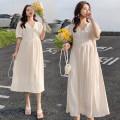 Dress Other / other M,L,XL,XXL Korean version Short sleeve Medium length summer V-neck Solid color Chiffon
