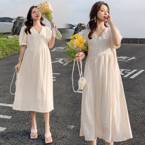 Dress Other / other M,L,XL,XXL Korean version Short sleeve Medium length summer V-neck Solid color Chiffon