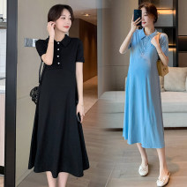 Dress Other / other Black, blue, collection and purchase ⭐ Priority shipping, black (quality version), blue (quality version) M,L,XL,XXL Korean version Short sleeve Medium length summer Lapel Solid color