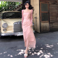 Dress Summer of 2019 Bean paste powder Average size longuette singleton  Sleeveless commute square neck High waist Solid color Socket One pace skirt camisole 18-24 years old Type A lady Lotus leaf, open back, fold, Auricularia auricula