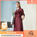 Dress Spring 2020 Crimson S M L XL Mid length dress singleton  elbow sleeve commute Polo collar middle-waisted zipper A-line skirt routine 35-39 years old Type A CADIDL Ol style Hollowing out CF02098A8 More than 95% polyester fiber Polyester 100% Same model in shopping mall (sold online and offline)