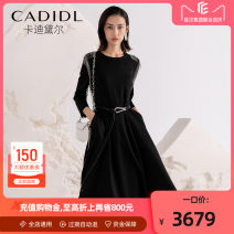 Dress Spring 2021 black S M L XL longuette singleton  Long sleeves commute Crew neck middle-waisted Solid color Socket A-line skirt routine 35-39 years old Type X CADIDL Ol style zipper CF02736W0 71% (inclusive) - 80% (inclusive) polyester fiber