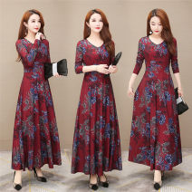 Dress Spring 2020 claret S,M,L,XL,2XL,3XL,4XL longuette singleton  Long sleeves commute V-neck High waist Decor Socket Big swing routine Others 40-49 years old Type A Wave flash Korean version printing LYQ20A01 51% (inclusive) - 70% (inclusive) other cotton