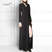 Dress Summer 2021 Black double silk S. M, l, XL, 2XL, size can be customized longuette singleton  Long sleeves Sweet V-neck High waist Solid color A button routine DJM Pleat, pleat SQ504 More than 95% silk Bohemia