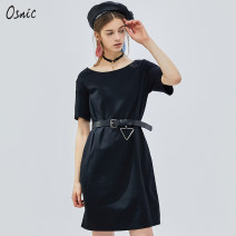 Dress Autumn of 2019 black S M L XL Middle-skirt singleton  Short sleeve commute Crew neck Loose waist Solid color Socket A-line skirt routine Others 25-29 years old Osnic / o'shangni Korean version Hollow out solid color 51% (inclusive) - 70% (inclusive) other cotton Cotton 51.5% polyester 48.5%