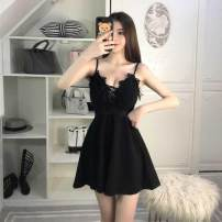 Dress Spring of 2019 Black, apricot (chest patch) Average size Short skirt singleton  Sleeveless commute V-neck High waist Solid color Socket Big swing camisole 18-24 years old Type A Other / other Korean version Frenulum 31% (inclusive) - 50% (inclusive) polyester fiber