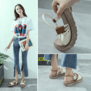 Sandals Beige brown black 35 36 37 38 39 Other/others PU flat Summer of 2018 Open toe Middle heel (3-5cm) Korean version Pure color Velcro daily Hollow