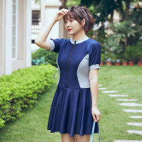 one piece  Helenda Blue, black Skirt one piece With chest pad without steel support other female Short sleeve Casual swimsuit other