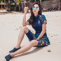 one piece  Helenda M,L,XL,XXL,4XL,XXXL Navy Blue Skirt one piece With chest pad without steel support Spandex, polyester female Short sleeve Casual swimsuit