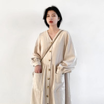 Dress Spring 2021 Beixing, Dark Khaki S, M Mid length dress singleton  Long sleeves commute V-neck Loose waist Solid color Single breasted A-line skirt shirt sleeve Others Type H CHIC VEN Retro pocket 120DQ02524 81% (inclusive) - 90% (inclusive) corduroy polyester fiber