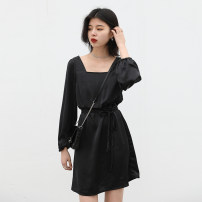 Dress Spring 2021 black S, M Middle-skirt singleton  Long sleeves commute square neck Elastic waist Solid color Socket A-line skirt routine Others Type X CHIC VEN Retro More than 95% Silk and satin polyester fiber