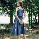 Dress Summer of 2019 royal blue S. M, reserve price consultation customer service longuette singleton  Sleeveless commute square neck middle-waisted Solid color zipper A-line skirt other camisole 18-24 years old Type A Andlau  Retro