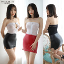 Dress Summer of 2019 White above and red below, white above and black below, black above and black below Average size Short skirt Fake two pieces Sleeveless other Elastic waist zipper other other Breast wrapping 25-29 years old Type H Other / other Zipper, lace, stitching other PU