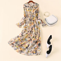 Dress Spring 2021 Long sleeve floral waist long skirt yellow S,M,L,XL longuette singleton  Long sleeves commute stand collar High waist Broken flowers Socket Big swing pagoda sleeve Others Type H Ol style Zipper, gauze, printing, stitching, bow, lace, lace Z010