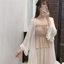 Lace / Chiffon Spring 2021 white Average size Nine point sleeve Versatile Cardigan singleton  easy Medium length Solid color pagoda sleeve 18-24 years old