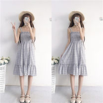Dress Summer 2021 Blue plaid skirt, yellow plaid skirt, sunscreen Average size Middle-skirt Two piece set Sleeveless Sweet One word collar lattice other other camisole 18-24 years old Type A college