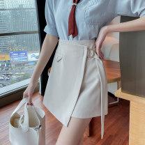 skirt Summer 2021 S,M,L,XL,2XL Apricot, black Short skirt commute High waist A-line skirt Solid color Type A 18-24 years old other polyester fiber zipper Korean version